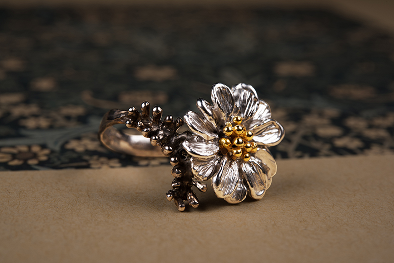 Small Daise Ring, Silver, Goldplating